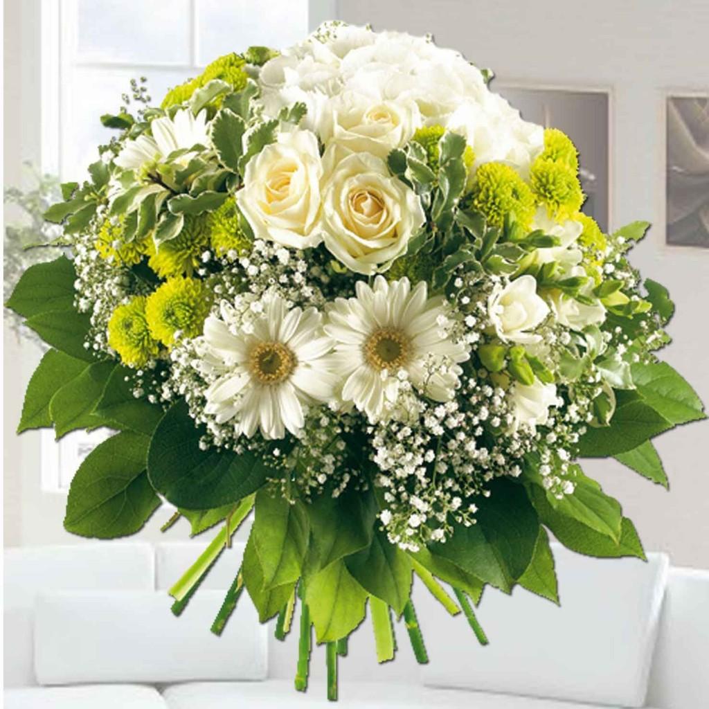 Ramo de flores blancas alba el draguito garden center - Ramos de flores grandes ...